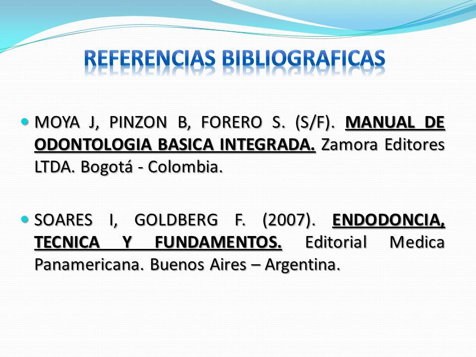 MOYA J, PINZON B, FORERO S. (S/F). MANUAL DE ODONTOLOGIA BASICA INTEGRADA. Zamora Editores LTDA. Bogotá - Colombia. MOYA J, PINZON B, FORERO S. (S/F).