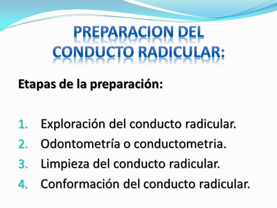Etapas de la preparación: 1. Exploración del conducto radicular. 2. Odontometría o conductometria. 3. Limpieza del conducto radicular. 4. Conformación