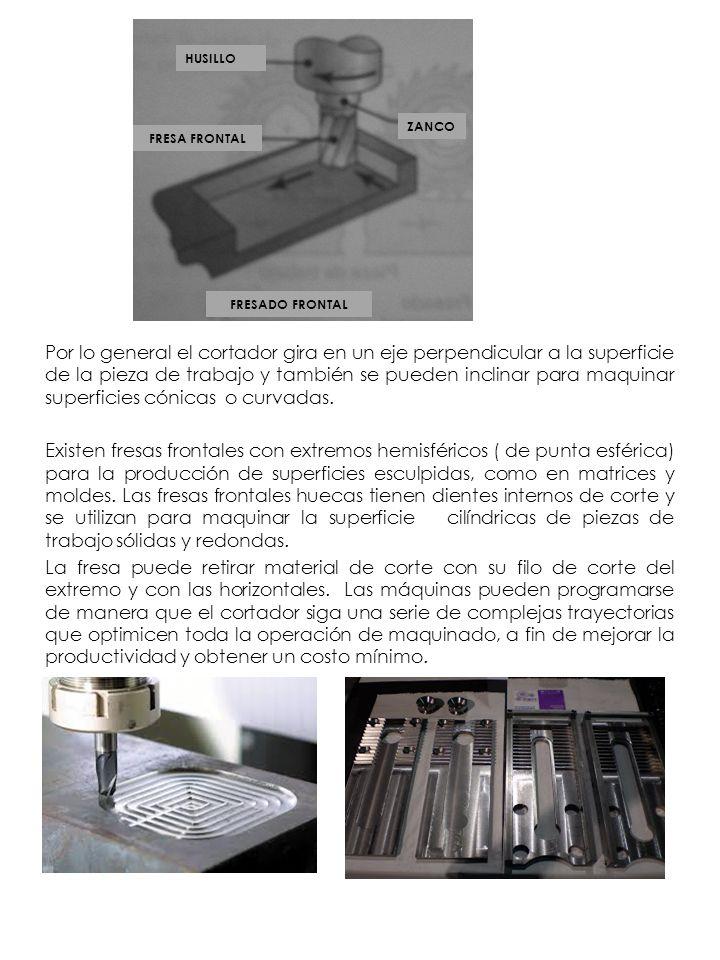 Por lo general el cortador gira en un eje perpendicular a la superficie de la pieza de trabajo y también se pueden inclinar para maquinar superficies