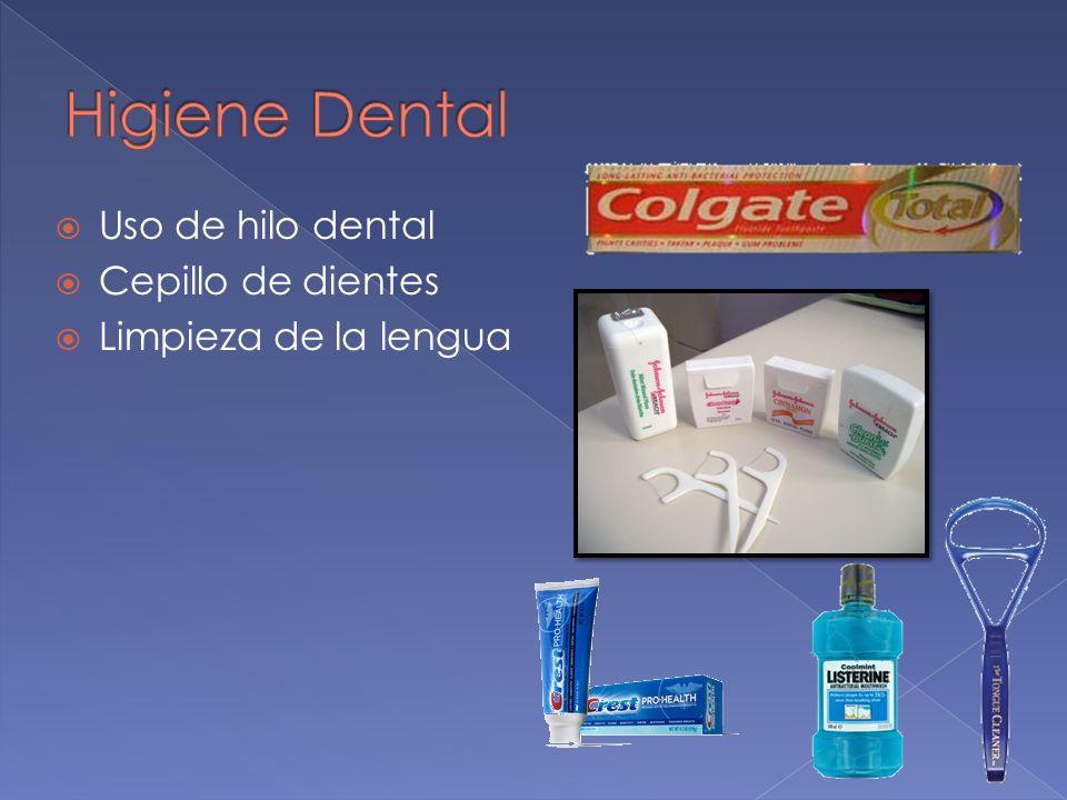 Uso de hilo dental Cepillo de dientes Limpieza de la lengua