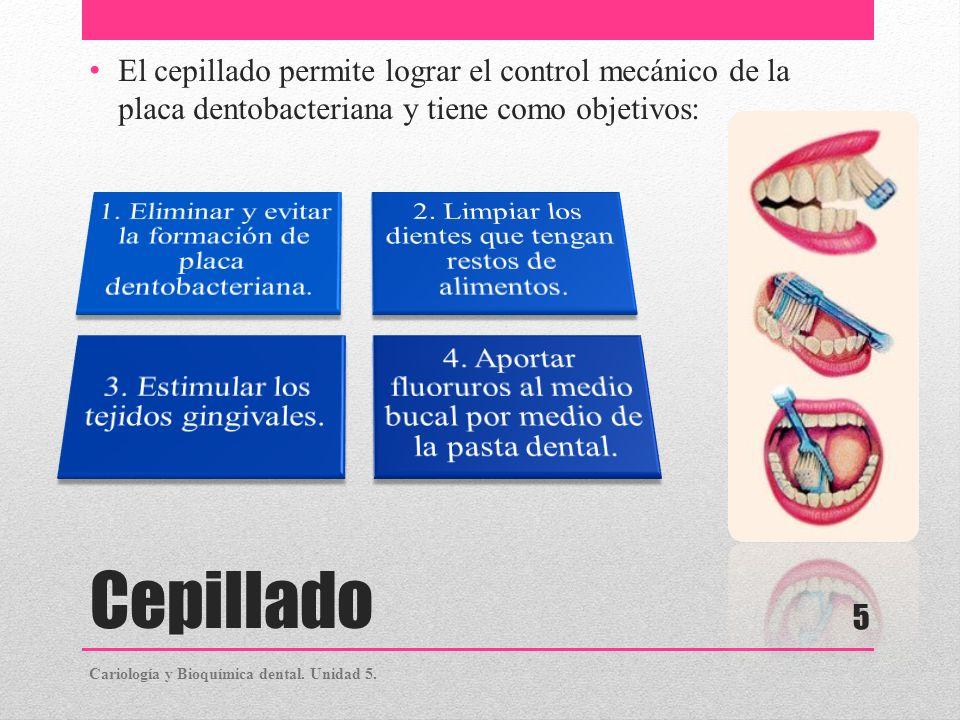 Cepillado El cepillado permite lograr el control mecánico de la placa dentobacteriana y tiene como objetivos: Cariología y Bioquímica dental. Unidad 5