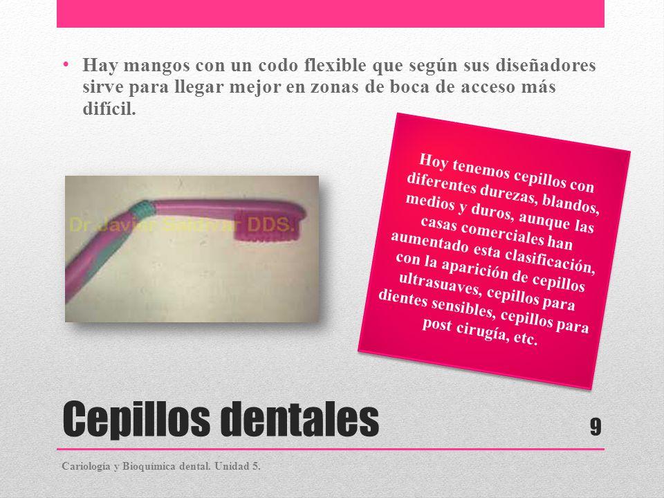 Cepillos dentales Hay mangos con un codo flexible que según sus diseñadores sirve para llegar mejor en zonas de boca de acceso más difícil. Hoy tenemo