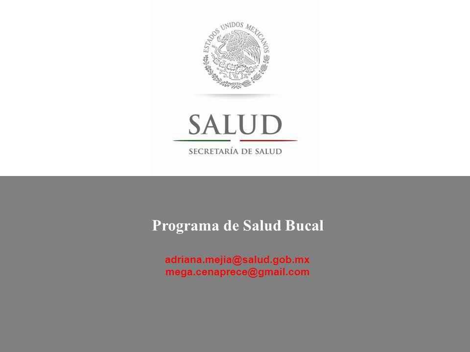 Programa de Salud Bucal adriana.mejia@salud.gob.mx mega.cenaprece@gmail.com
