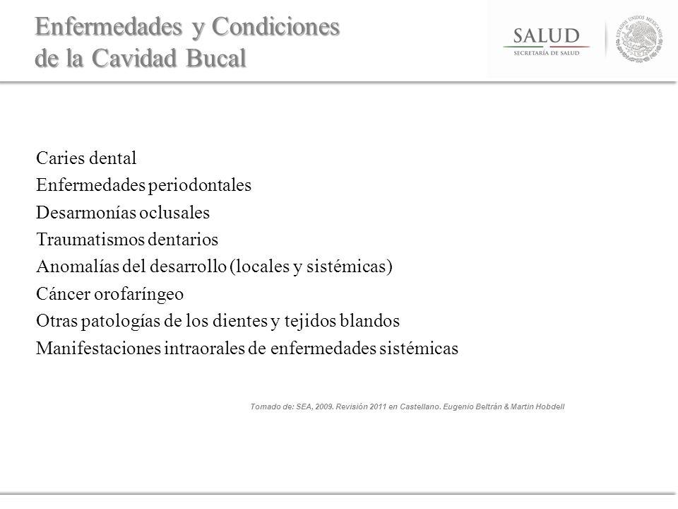 Caries dental Enfermedades periodontales Desarmonías oclusales Traumatismos dentarios Anomalías del desarrollo (locales y sistémicas) Cáncer orofaríng