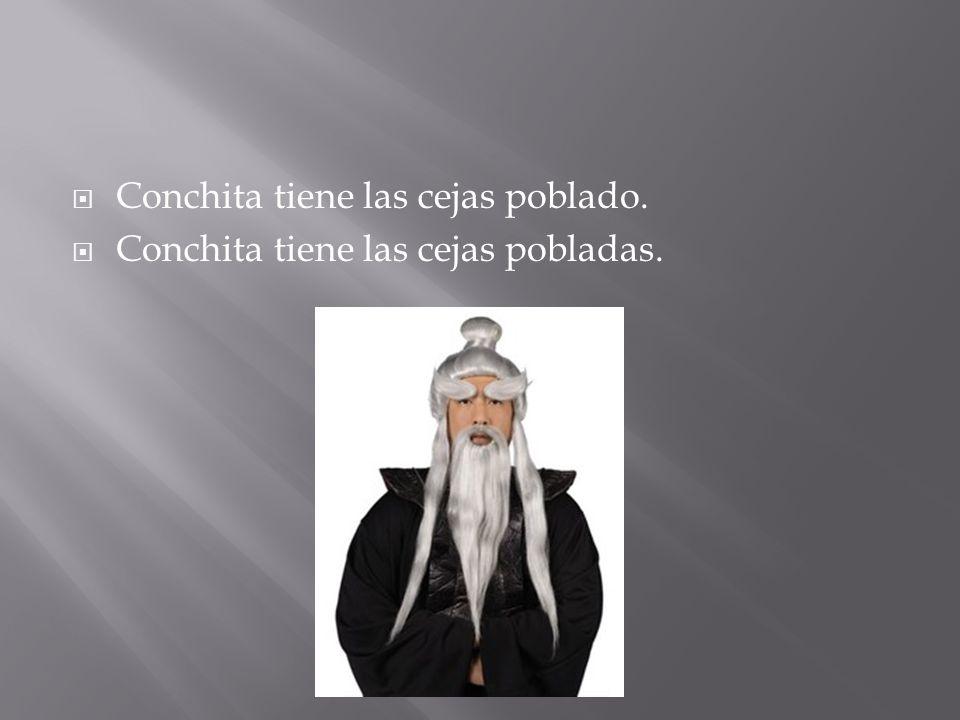 Conchita tiene las cejas poblado. Conchita tiene las cejas pobladas.