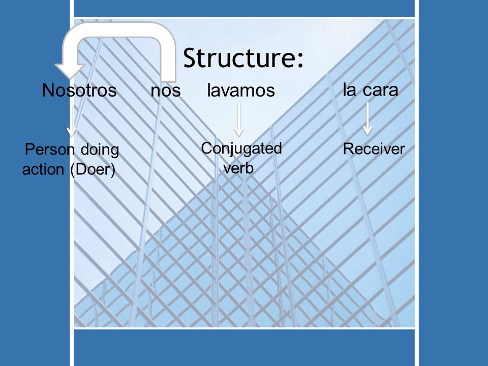 Structure: Nosotros Person doing action (Doer) noslavamos Conjugated verb la cara Receiver