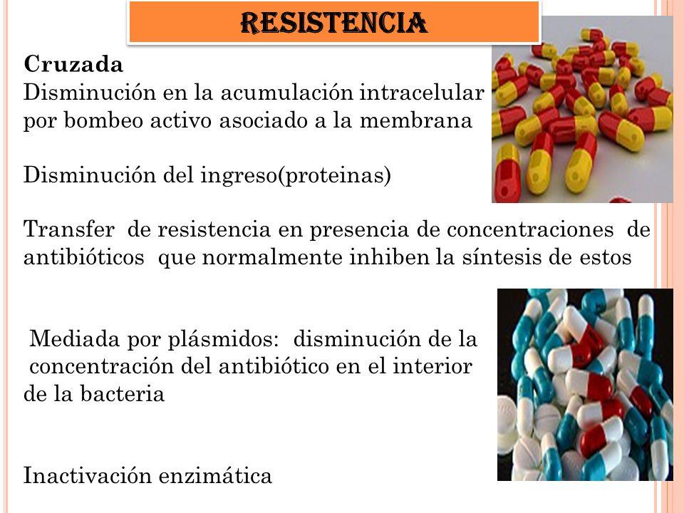 Cruzada Disminución en la acumulación intracelular por bombeo activo asociado a la membrana Disminución del ingreso(proteinas) Transfer de resistencia