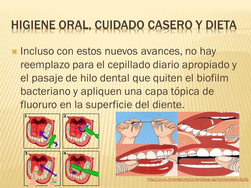 Incluso con estos nuevos avances, no hay reemplazo para el cepillado diario apropiado y el pasaje de hilo dental que quiten el biofilm bacteriano y ap