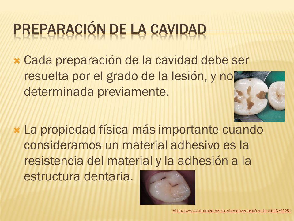 Cada preparación de la cavidad debe ser resuelta por el grado de la lesión, y no determinada previamente. La propiedad física más importante cuando co