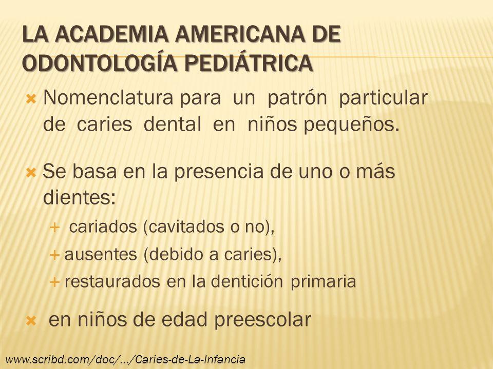 LA ACADEMIA AMERICANA DE ODONTOLOGÍA PEDIÁTRICA Nomenclatura para un patrón particular de caries dental en niños pequeños. Se basa en la presencia de