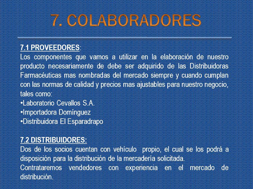 7.1 PROVEEDORES : Los componentes que vamos a utilizar en la elaboración de nuestro producto necesariamente de debe ser adquirido de las Distribuidora
