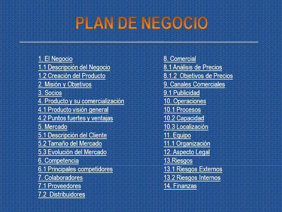1. El Negocio 1.1 Descripción del Negocio 1.2 Creación del Producto 2. Misión y Objetivos 3. Socios 4. Producto y su comercialización 4.1 Producto vis
