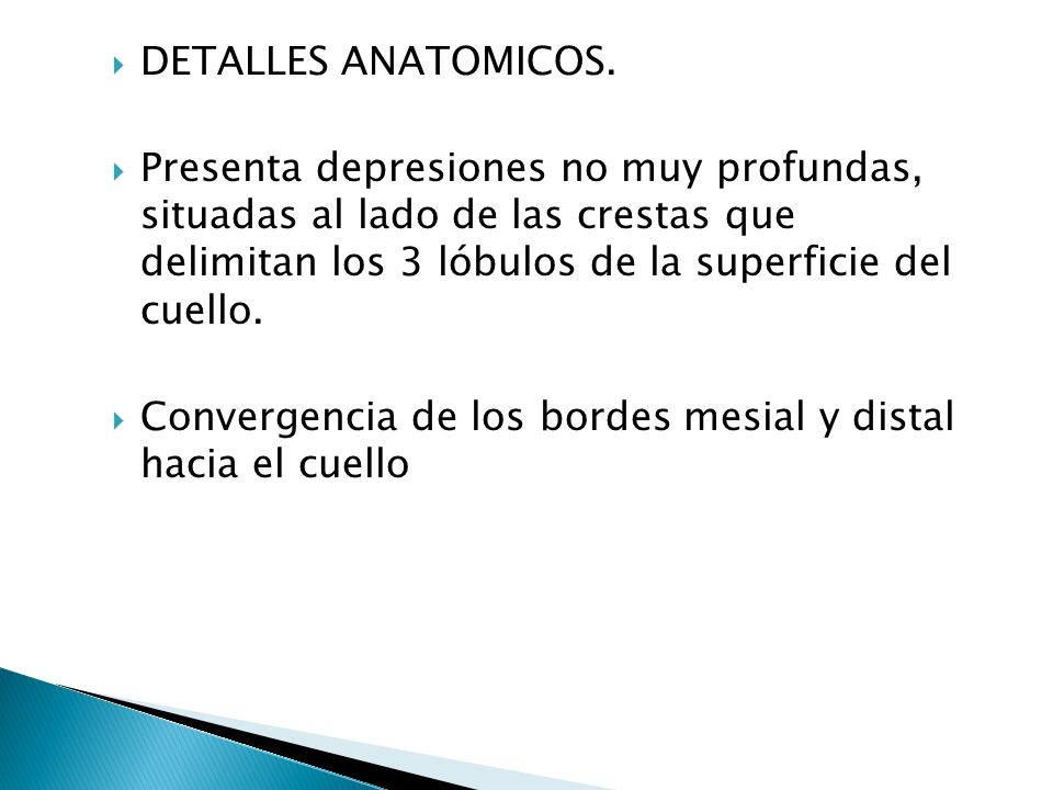 LIMITES MESIALMENTE: Angulo mesiolabioincisal hacia cervical es recto.