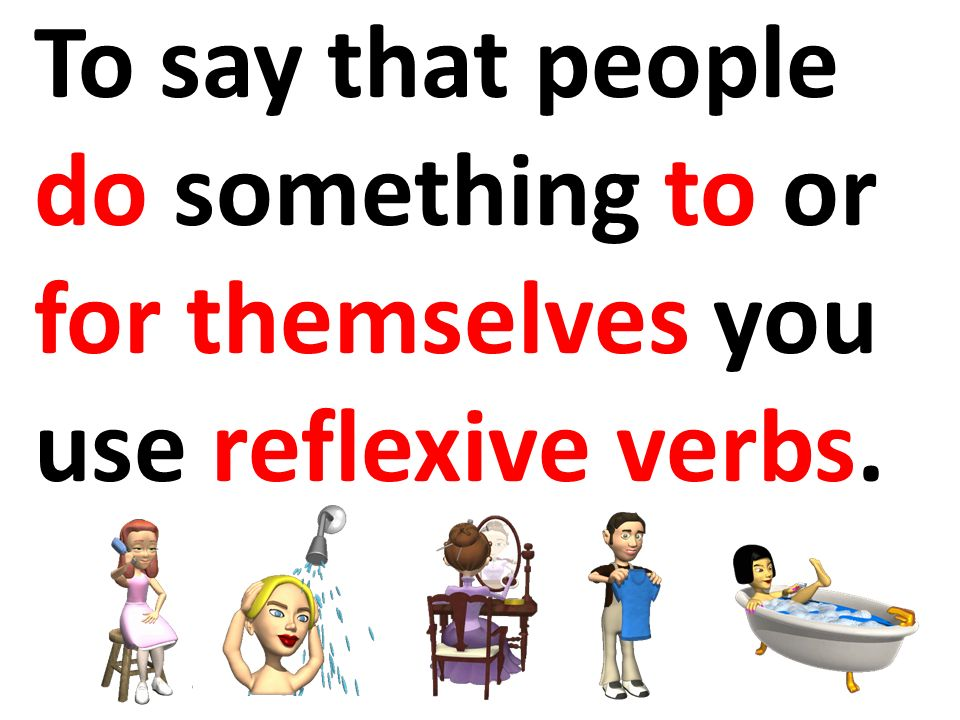 Subject Reflexive Prounoun Translation All reflexive verbs are used with a reflexive pronoun.