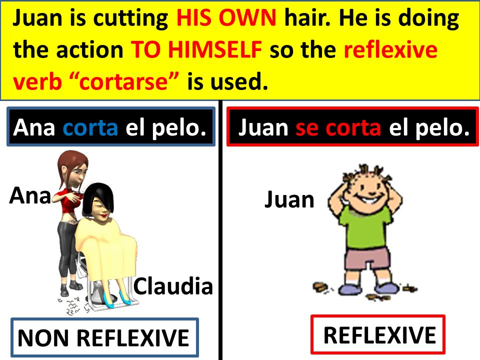 Juan is cutting HIS OWN hair.
