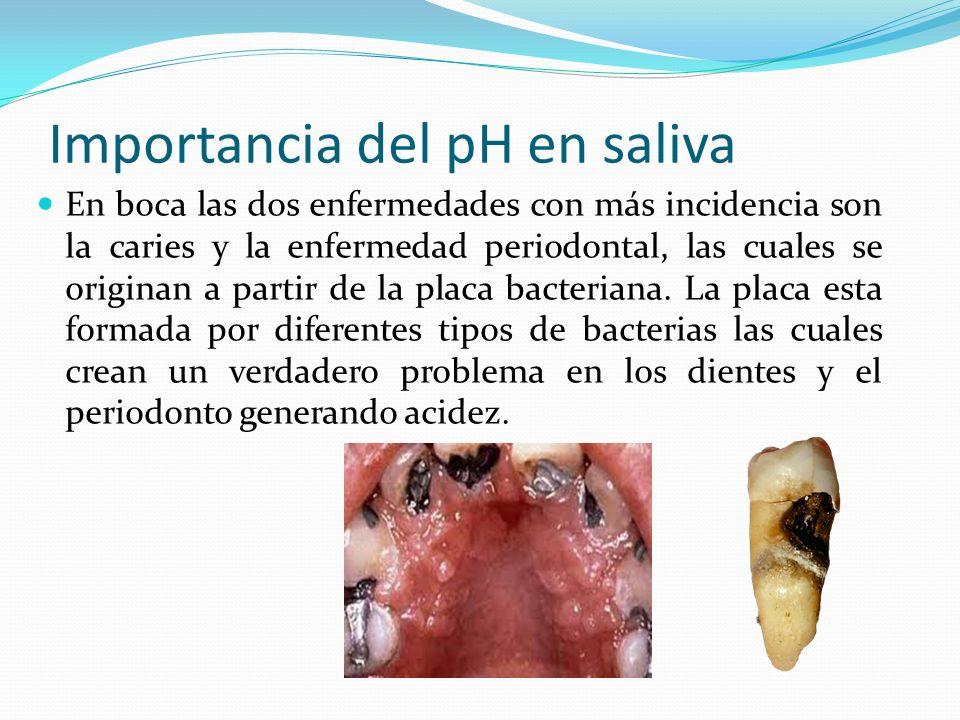 Importancia del pH en saliva En boca las dos enfermedades con más incidencia son la caries y la enfermedad periodontal, las cuales se originan a parti