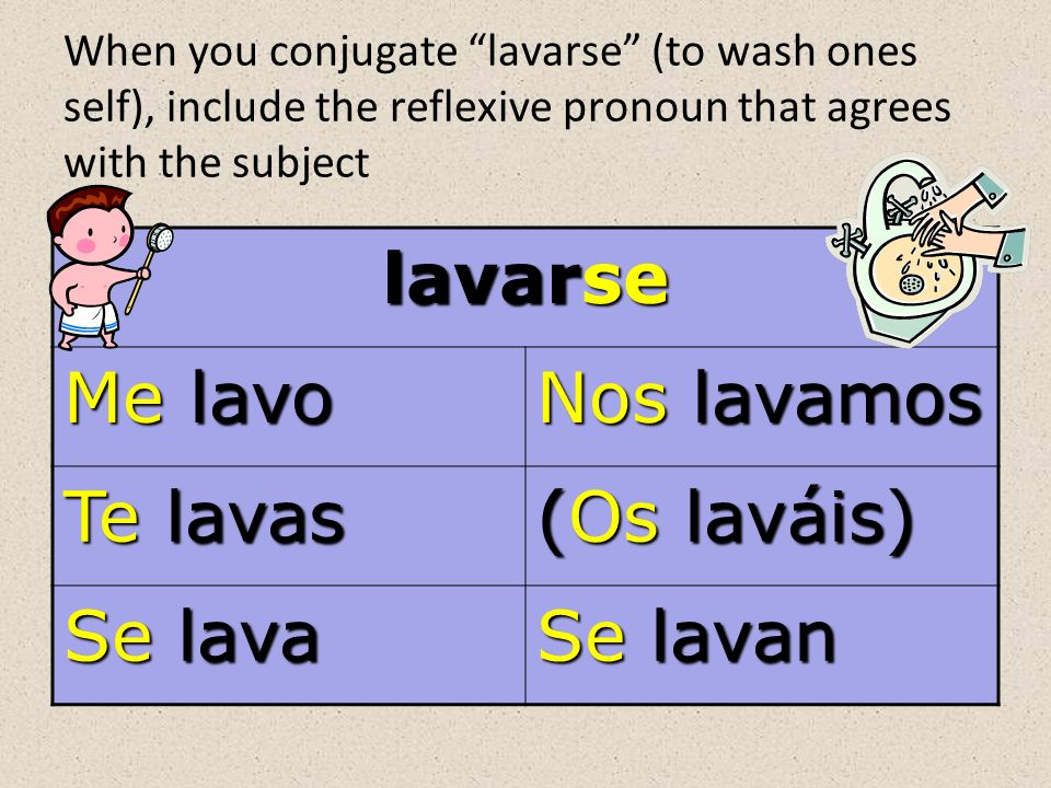 When you conjugate lavarse (to wash ones self), include the reflexive pronoun that agrees with the subject lavarse Me lavo Nos lavamos Te lavas (Os laváis) Se lava Se lavan