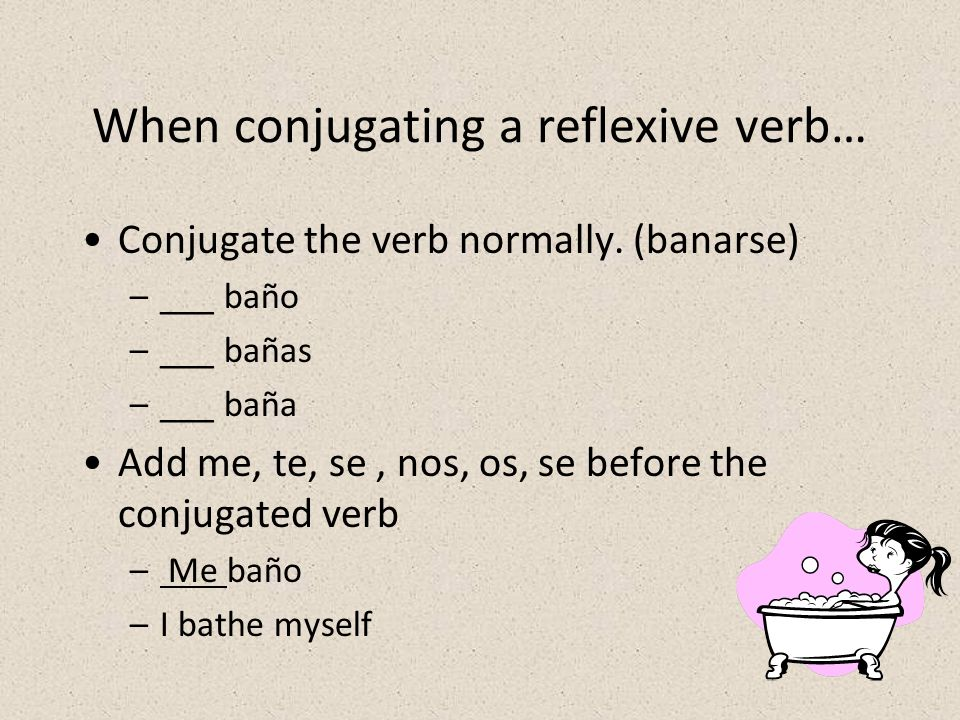 When conjugating a reflexive verb… Conjugate the verb normally.