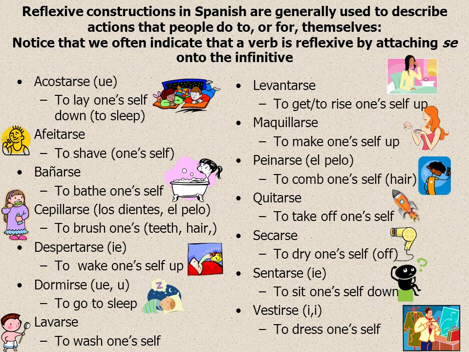 Reflexive pronouns with infinitives When you talk about an activity you –NEED TO –PREFER TO –HAVE TO ….