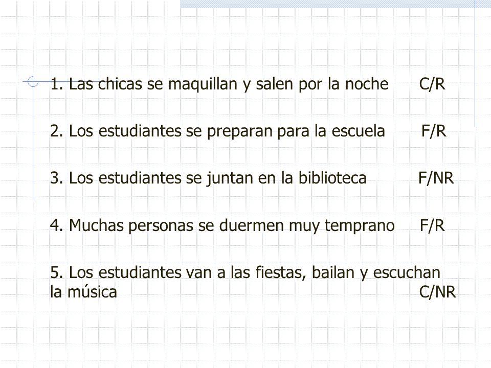 Oral input (7 min) Escucha las frases y apunta en tu cuaderno si las frases son Ciertas/ Falsas y si se usa el verbo reflexivo o no: Ejemplo: Los estu