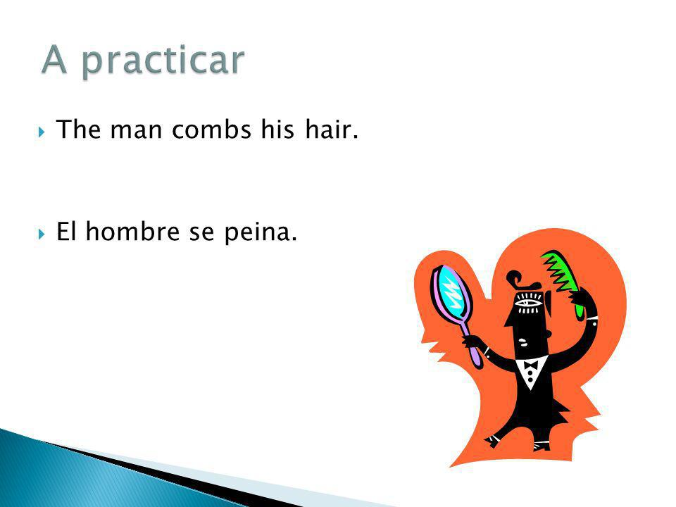 The man combs his hair. El hombre se peina.