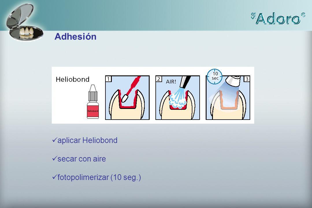aplicar Heliobond secar con aire fotopolimerizar (10 seg.) Adhesión