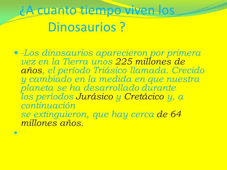 ¿A cuanto tiempo viven los Dinosaurios ? -Los dinosaurios aparecieron por primera vez en la Tierra unos 225 millones de años, el período Triásico llam
