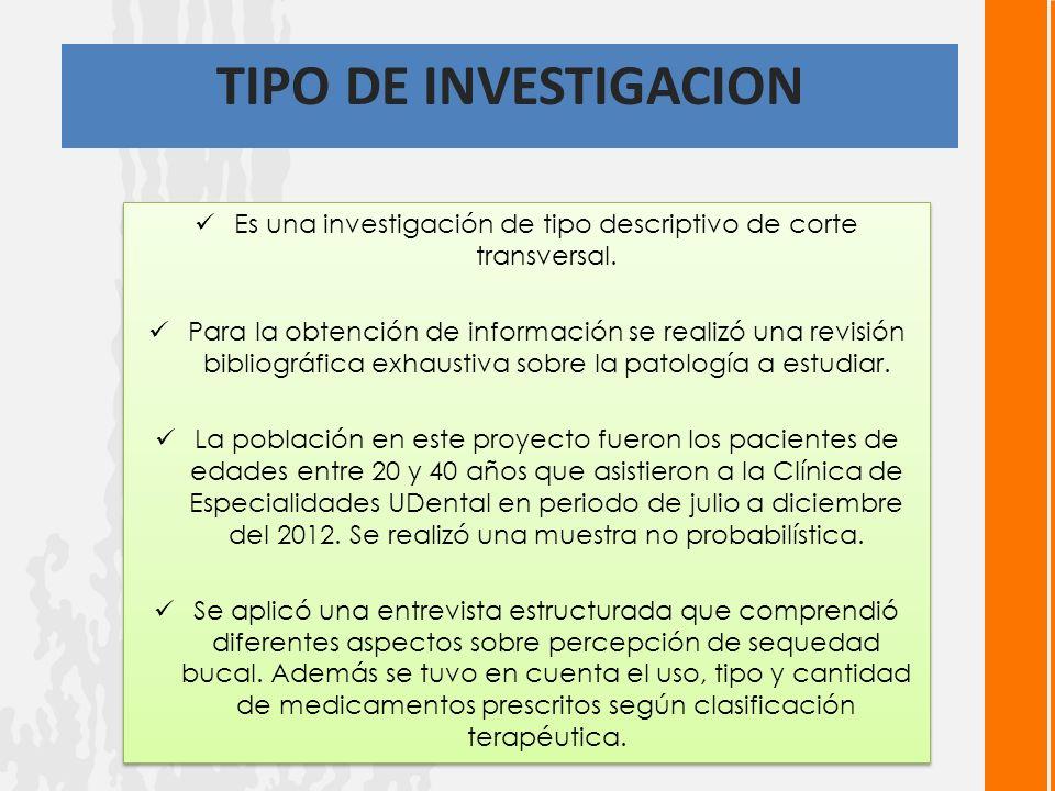 TIPO DE INVESTIGACION Es una investigación de tipo descriptivo de corte transversal.