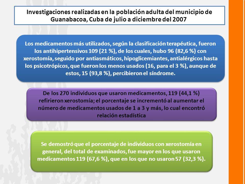Investigaciones realizadas en la población adulta del municipio de Guanabacoa, Cuba de julio a diciembre del 2007.