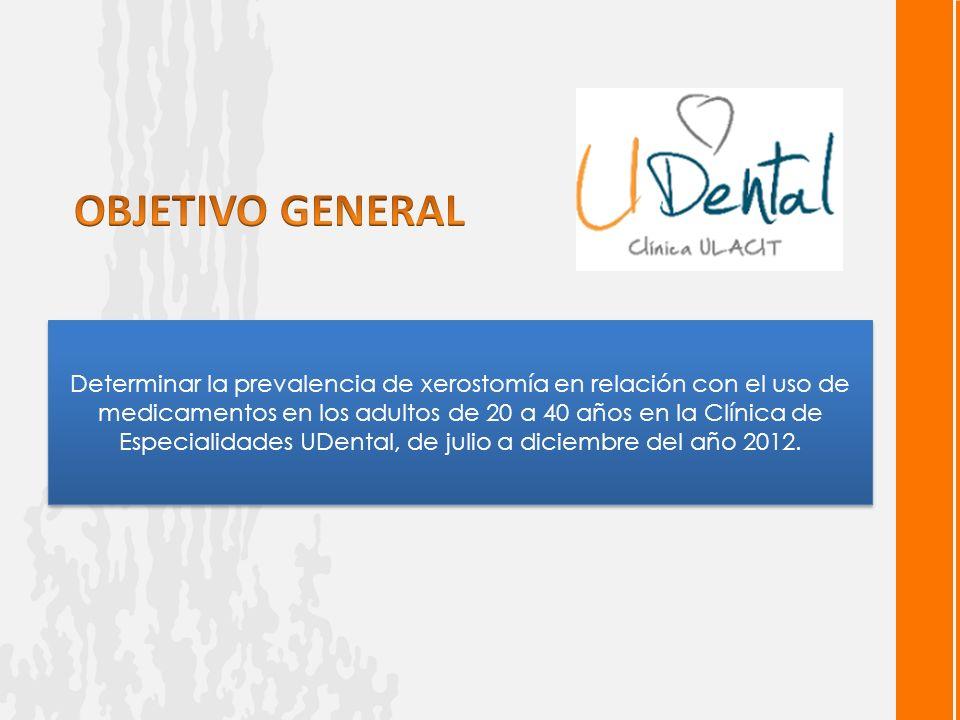 Determinar la prevalencia de xerostomía en relación con el uso de medicamentos en los adultos de 20 a 40 años en la Clínica de Especialidades UDental, de julio a diciembre del año 2012.