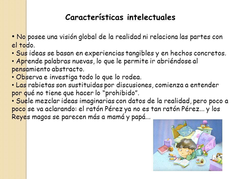 Características intelectuales No posee una visión global de la realidad ni relaciona las partes con el todo. Sus ideas se basan en experiencias tangib