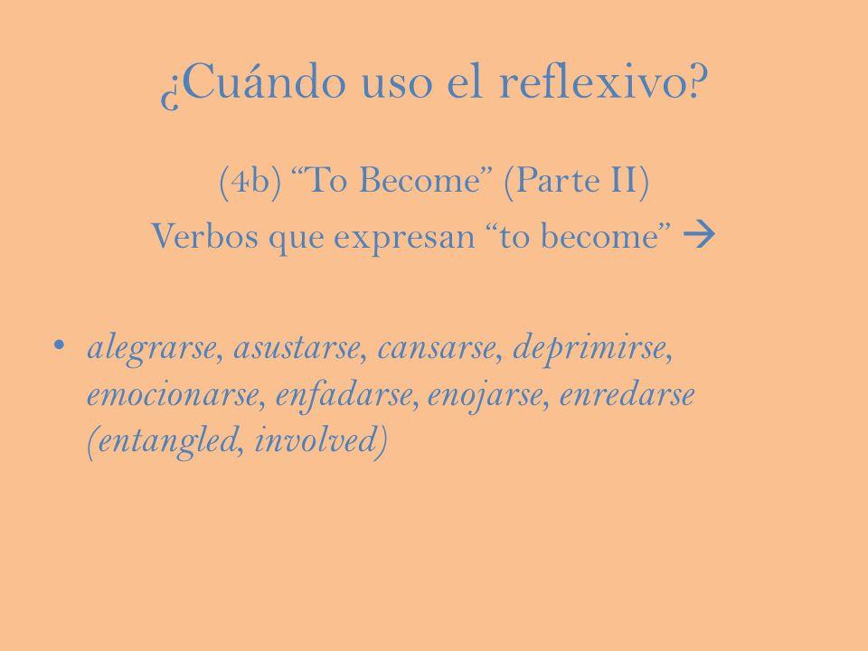 ¿Cuándo uso el reflexivo? (4b) To Become (Parte II) Verbos que expresan to become alegrarse, asustarse, cansarse, deprimirse, emocionarse, enfadarse,