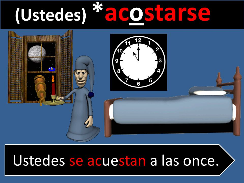 (Ustedes) *acostarse Ustedes se acuestan a las once.