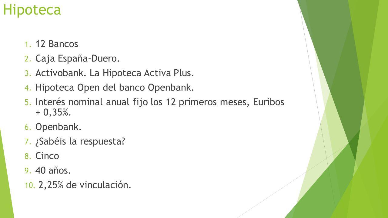 Hipoteca 1. 12 Bancos 2. Caja España-Duero. 3. Activobank. La Hipoteca Activa Plus. 4. Hipoteca Open del banco Openbank. 5. Interés nominal anual fijo