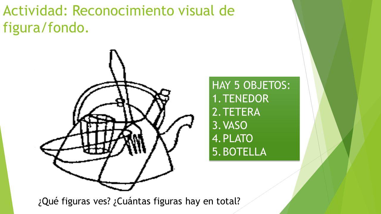 Actividad: Reconocimiento visual de figura/fondo. HAY 5 OBJETOS: 1.TENEDOR 2.TETERA 3.VASO 4.PLATO 5.BOTELLA HAY 5 OBJETOS: 1.TENEDOR 2.TETERA 3.VASO