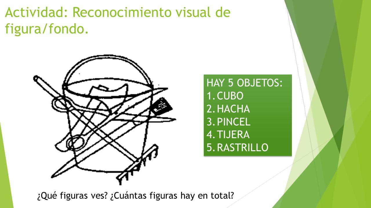 Actividad: Reconocimiento visual de figura/fondo. HAY 5 OBJETOS: 1.CUBO 2.HACHA 3.PINCEL 4.TIJERA 5.RASTRILLO HAY 5 OBJETOS: 1.CUBO 2.HACHA 3.PINCEL 4