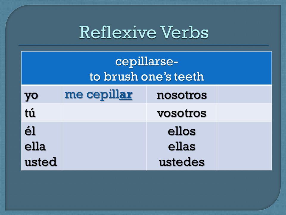 cepillarse- to brush ones teeth yonosotros tútútútúvosotros élellausted ellos ellas ustedes me cepillar