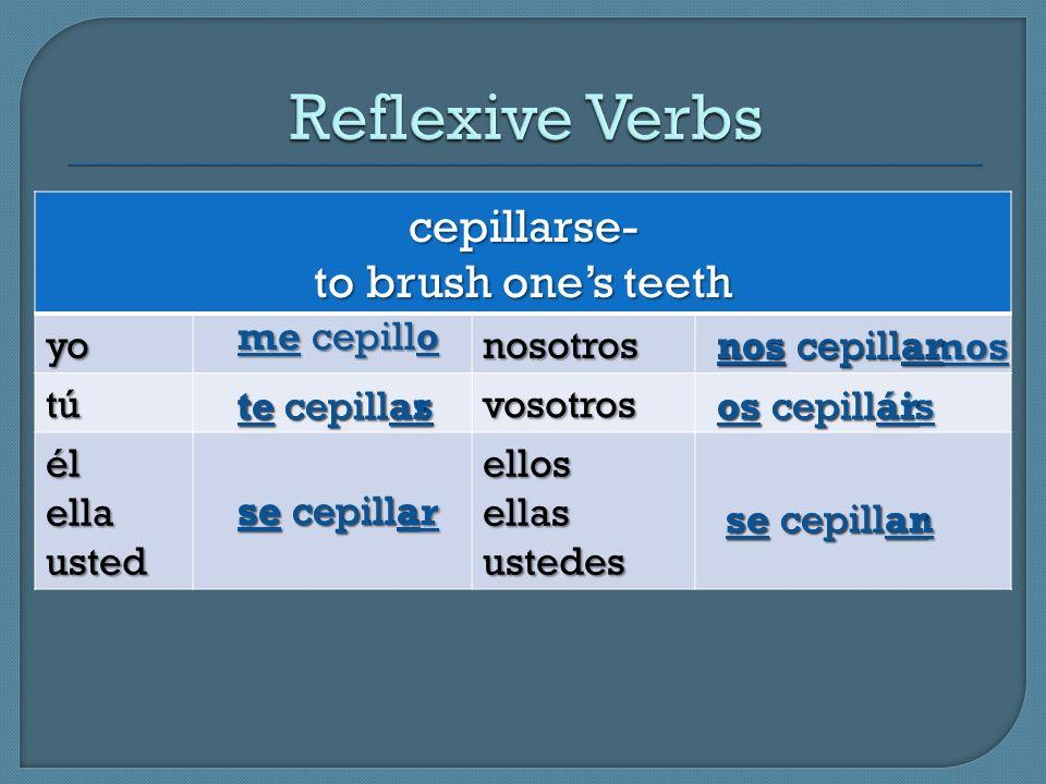 cepillarse- to brush ones teeth yonosotros tútútútúvosotros élellausted ellos ellas ustedes me cepillo te cepillas se cepilla nos cepillamos os cepill