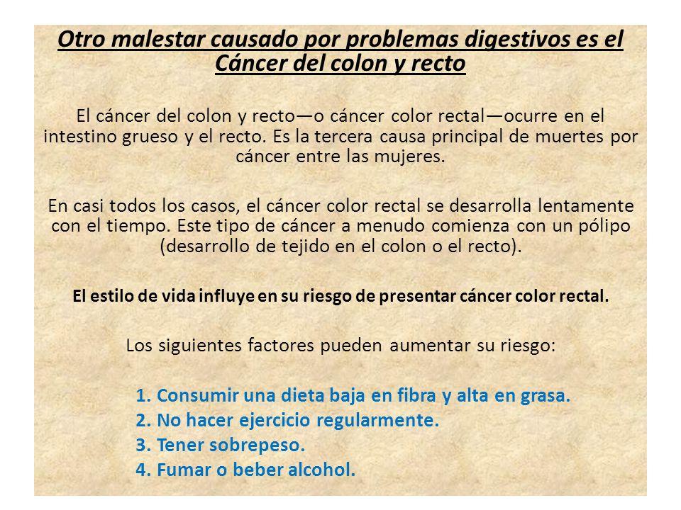 Otro malestar causado por problemas digestivos es el Cáncer del colon y recto El cáncer del colon y rectoo cáncer color rectalocurre en el intestino grueso y el recto.