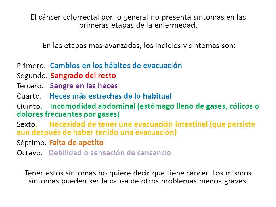 El cáncer colorrectal por lo general no presenta síntomas en las primeras etapas de la enfermedad. En las etapas más avanzadas, los indicios y síntoma