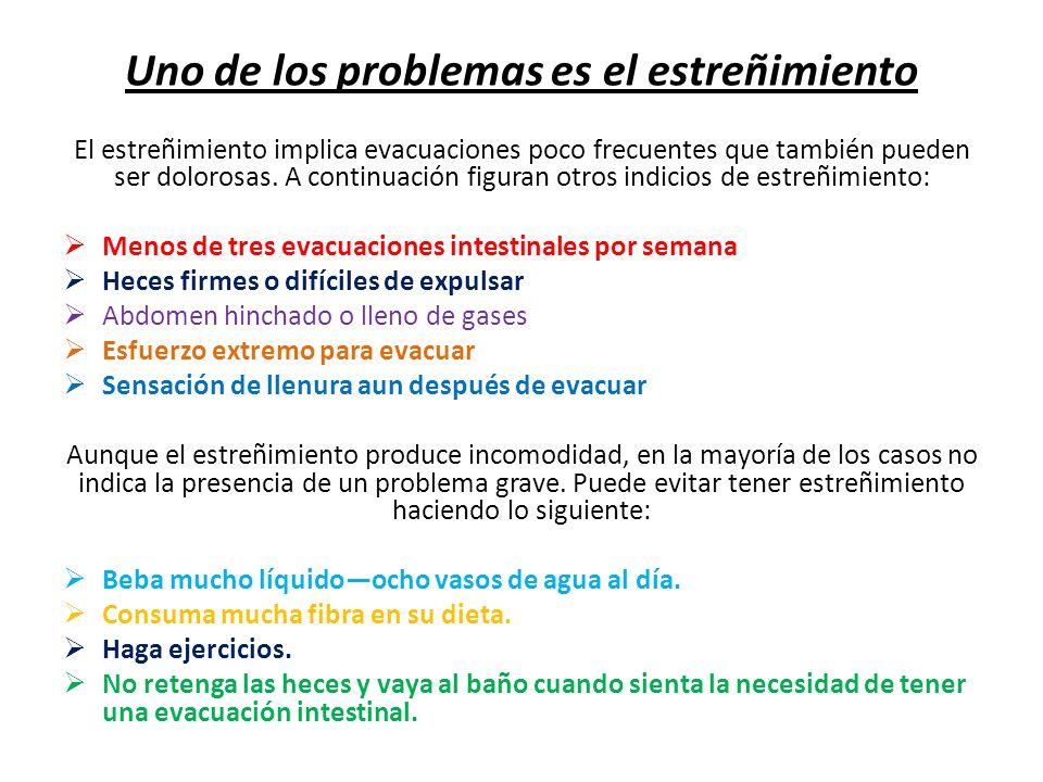 Uno de los problemas es el estreñimiento El estreñimiento implica evacuaciones poco frecuentes que también pueden ser dolorosas. A continuación figura