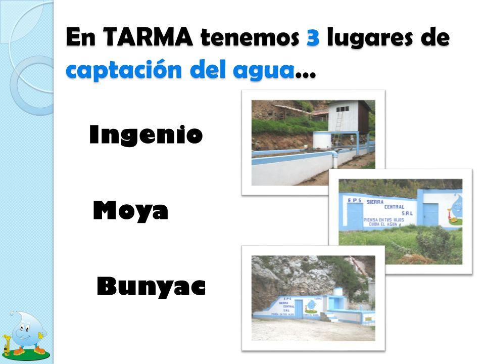 En TARMA tenemos 3 lugares de captación del agua… Ingenio Moya Bunyac