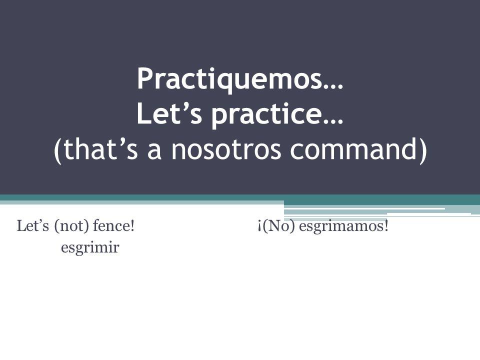 Practiquemos… Lets practice… (thats a nosotros command) Lets (not) fence.