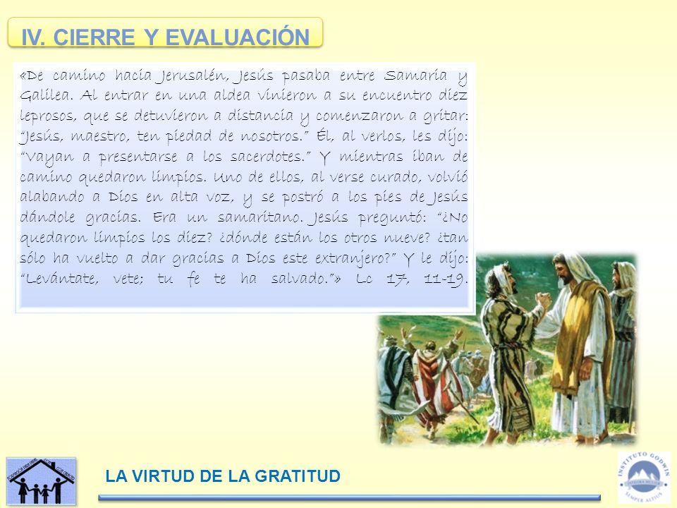 LA VIRTUD DE LA GRATITUD IV.