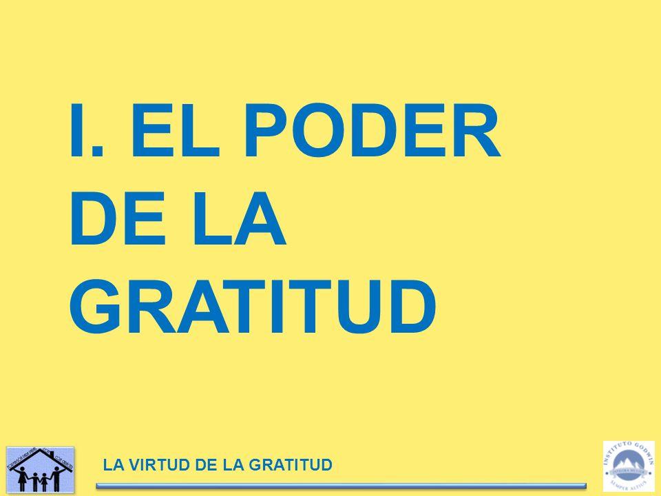 LA VIRTUD DE LA GRATITUD I. EL PODER DE LA GRATITUD