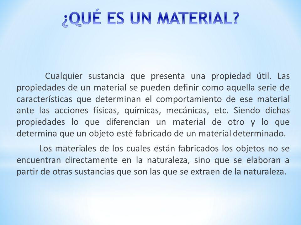 Cualquier sustancia que presenta una propiedad útil. Las propiedades de un material se pueden definir como aquella serie de características que determ