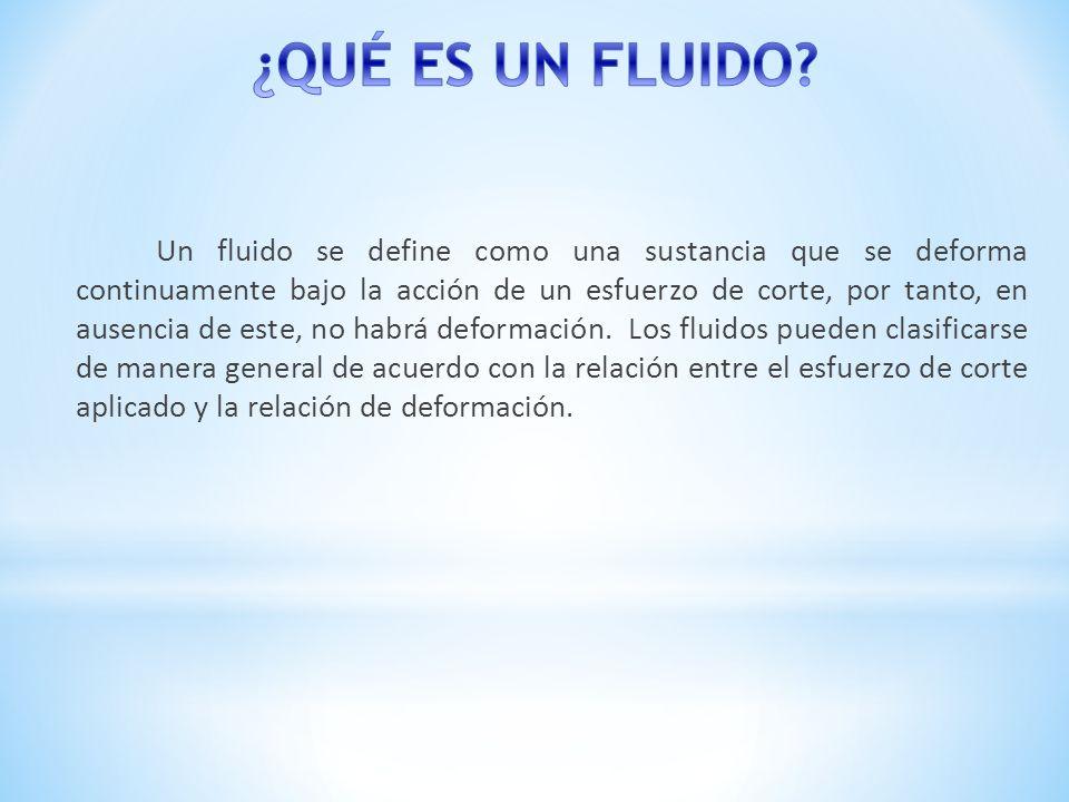 Un fluido se define como una sustancia que se deforma continuamente bajo la acción de un esfuerzo de corte, por tanto, en ausencia de este, no habrá d