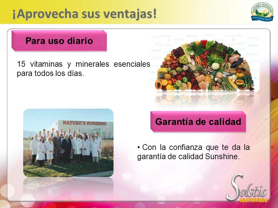 15 vitaminas y minerales esenciales para todos los días. Para uso diario Garantía de calidad Con la confianza que te da la garantía de calidad Sunshin