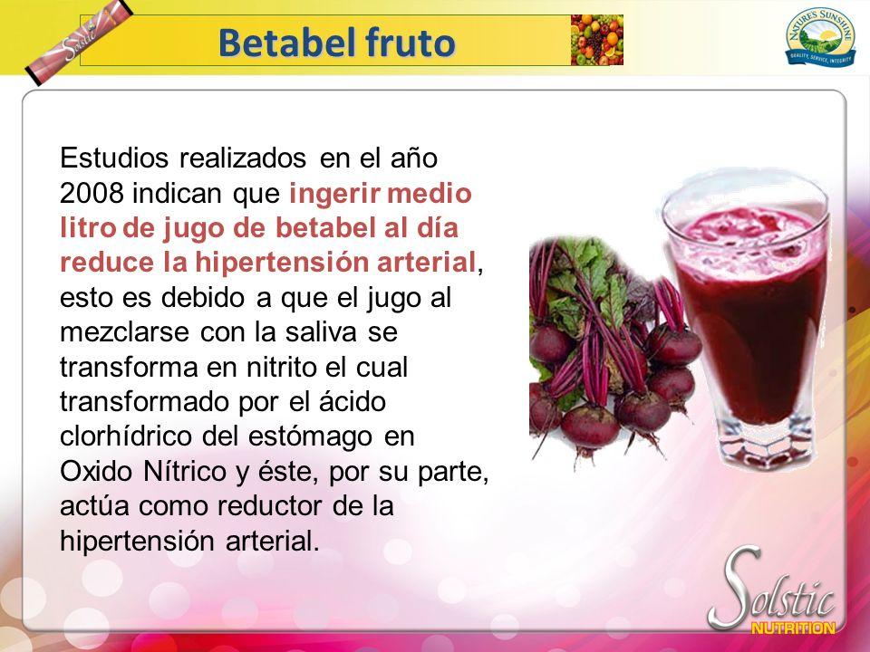 Betabel fruto Estudios realizados en el año 2008 indican que ingerir medio litro de jugo de betabel al día reduce la hipertensión arterial, esto es de