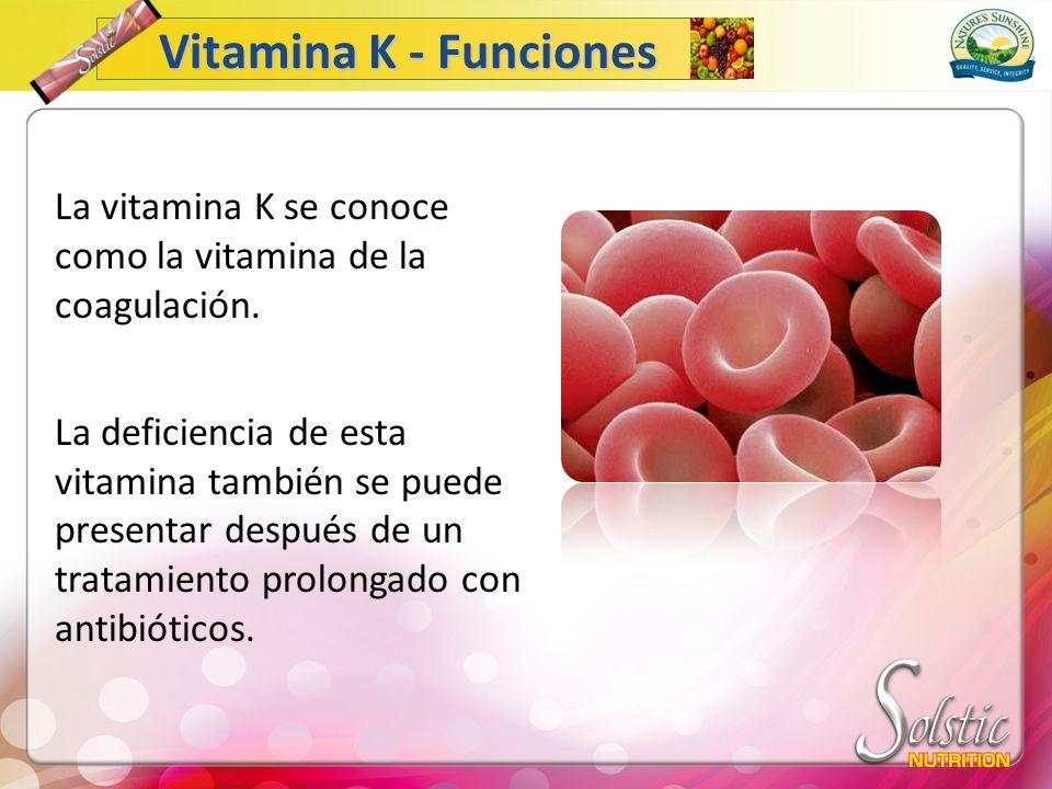 La vitamina K se conoce como la vitamina de la coagulación. La deficiencia de esta vitamina también se puede presentar después de un tratamiento prolo